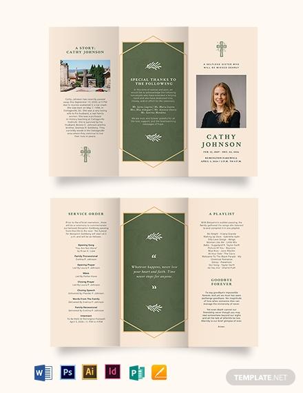 catholic eulogy funeral tri fold brochure