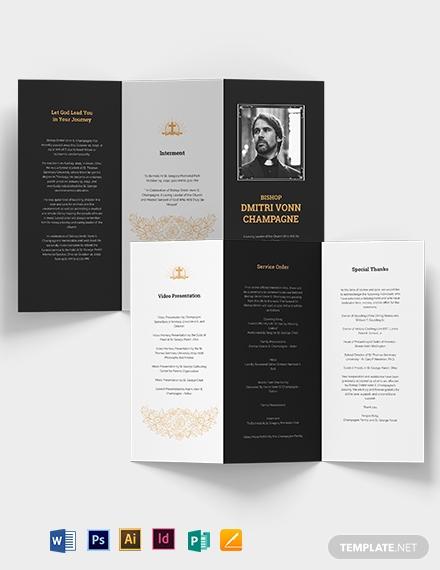 catholic funeral memorial tri fold brochure template