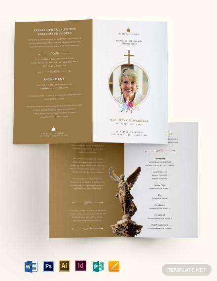 catholic funeral obituary bi fold brochure template