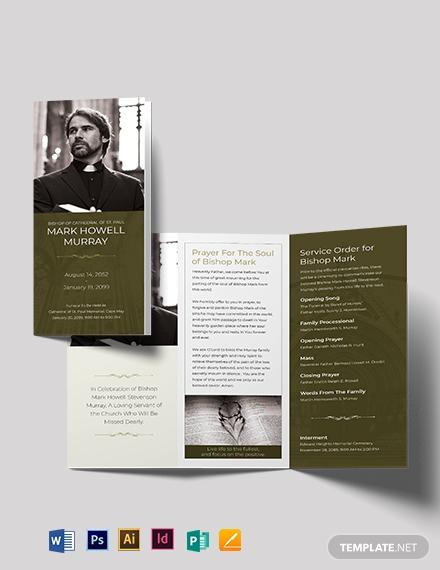 catholic funeral program tri fold brochure template