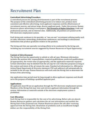 centralized college recruitment plan template