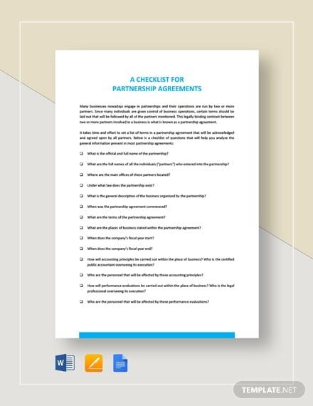 checklist partnership agreement