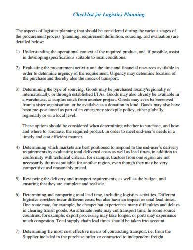 checklist for logistics planning