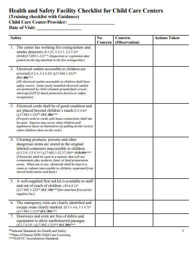 child care center inspection checklist
