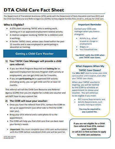 child care fact sheet example