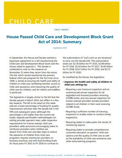 child care fact sheet template