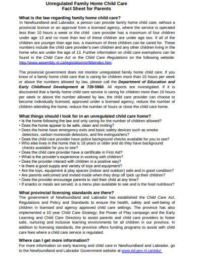 child care fact sheet for parents