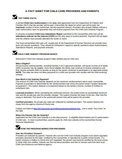 child care fact sheet for providers