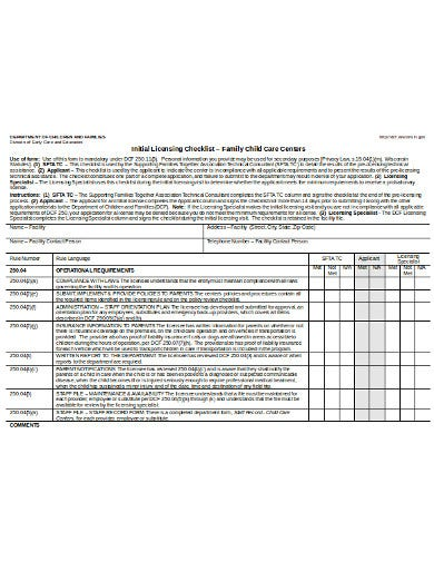 child care initial licensing inspection checklist