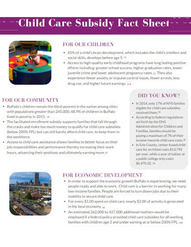 child care subsidy fact sheet
