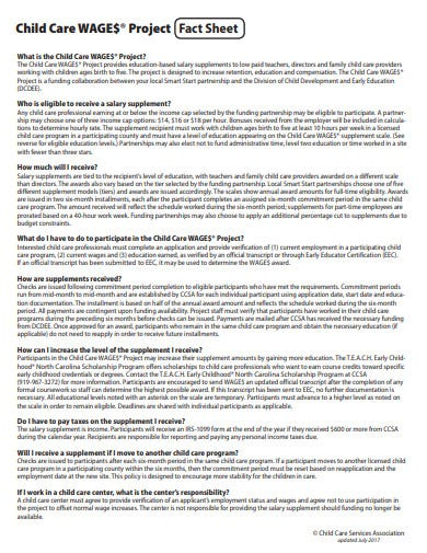 child care wages project fact sheet