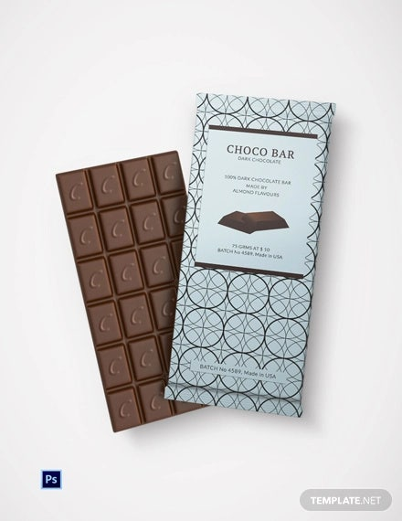 chocolate wrapper packaging template