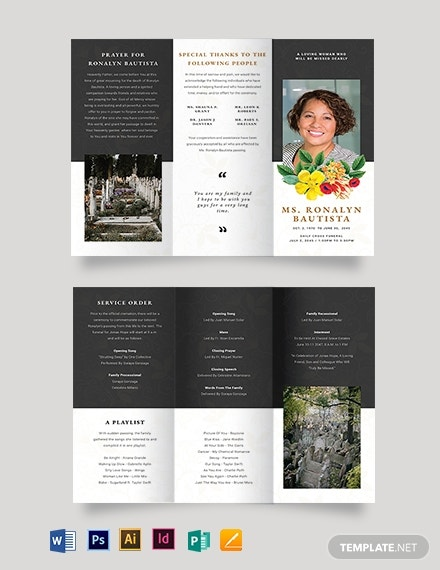 christian eulogy funeral tri fold brochure