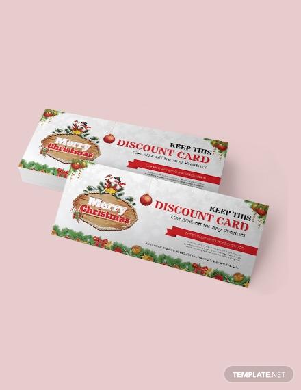 christmas discount coupon card 1x