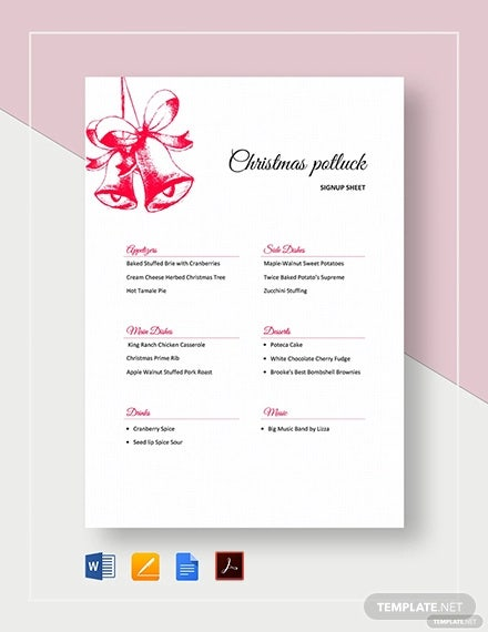 12 Potluck Signup Sheet Templates Free Sample Example