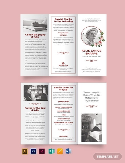 church eulogy funeral tri fold brochure