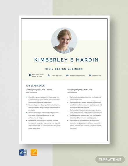 civil design engineer resume template