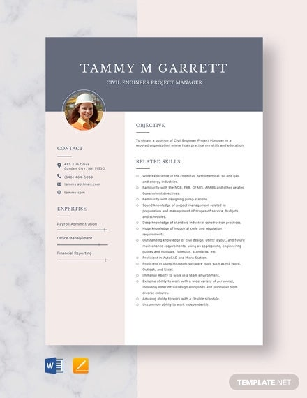 civil engineer project manager resume template
