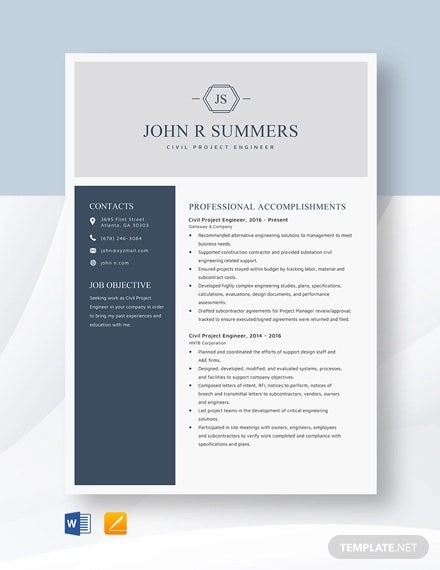 civil project engineer resume template