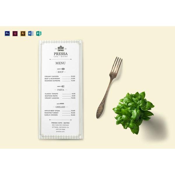 classy food menu template