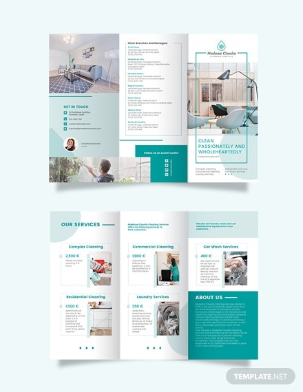 cleaning service company tri fold brochure