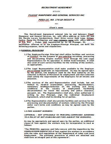 client recruitment agency agreement
