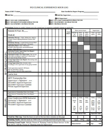 clinical experience hour log example