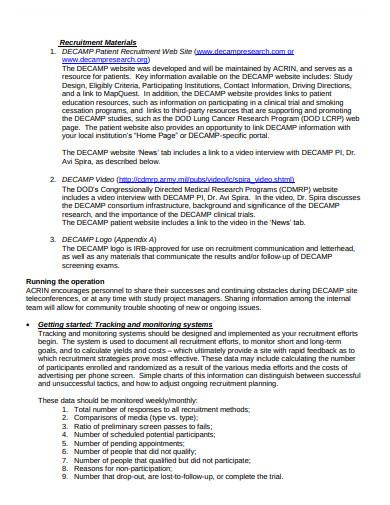 clinical trial recruitment material plan