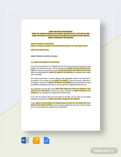 collection letter referral to agency template