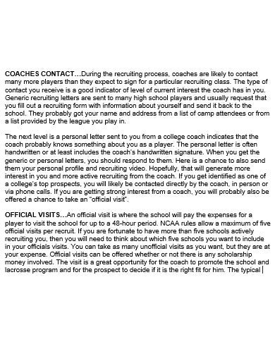 college recruiting letter template in doc