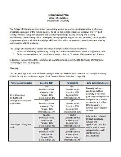 college recruitment plan example