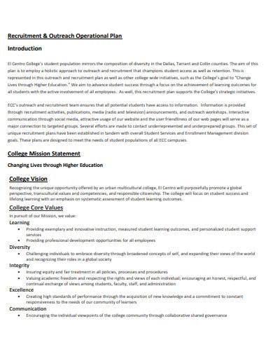 college recruitment plan template in pdf