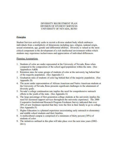 college universityt recruitment plan template