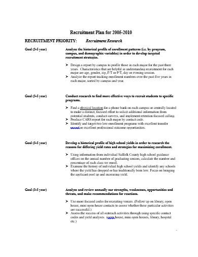 college wide recruitment plan template