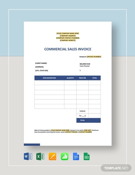 commercial sales invoice