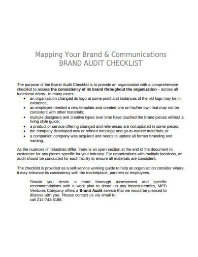 communication brand audit checklist