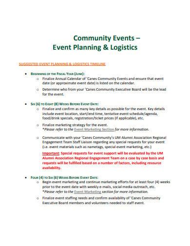 community event logistics planning template