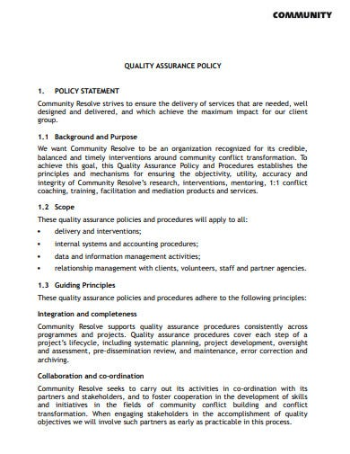 community quality assurance policy statement template