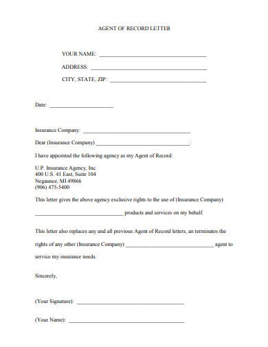 company agent of record letter template
