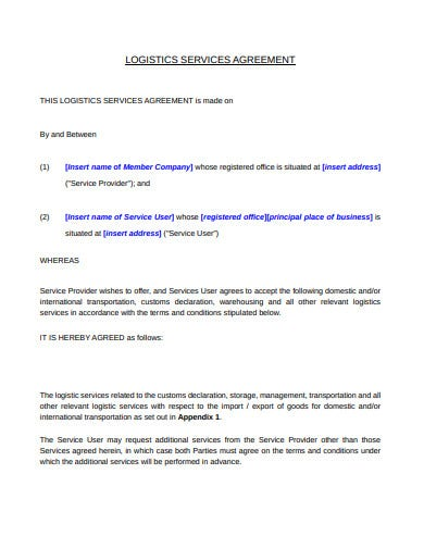 company logistic service agreement