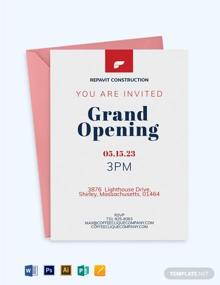 company opening invitation template