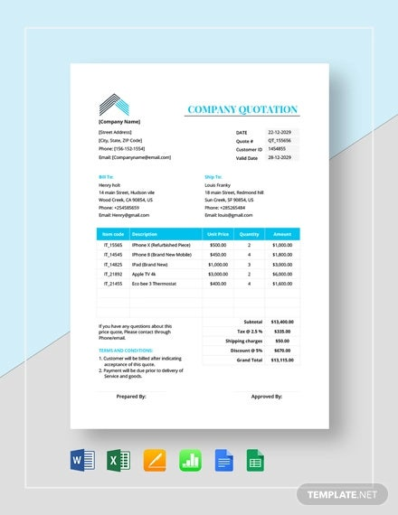 company quotation format template