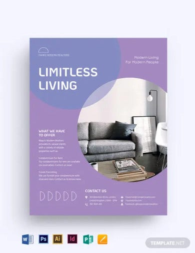 condo apartment vacation rental flyer template