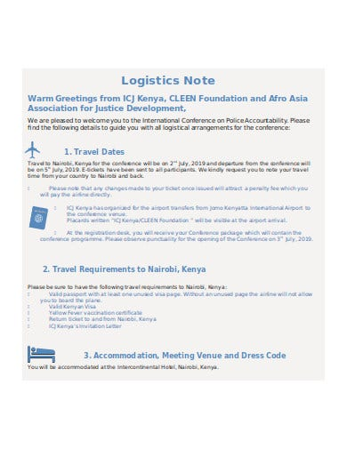 conference logistics note
