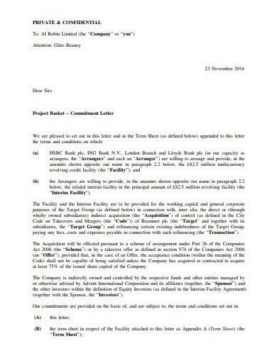 confidential investment commitment letter