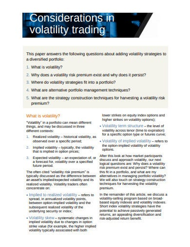 considerations in volatility trading strategies