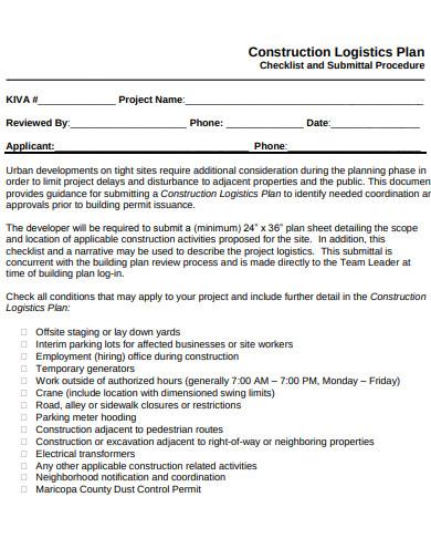 construction logistics plan form