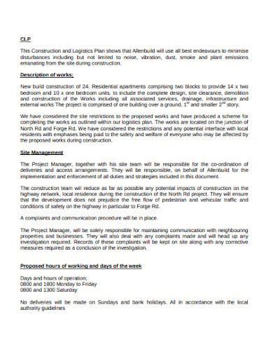 construction logistics plan format