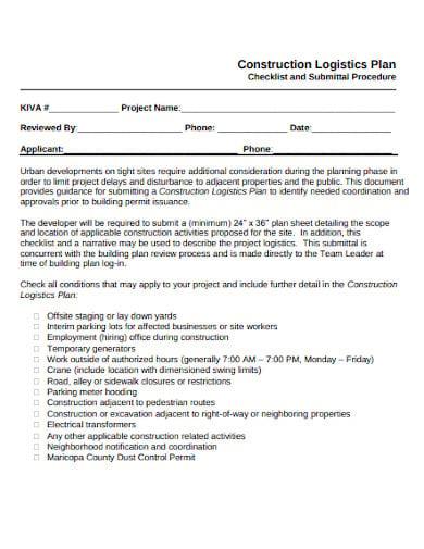 construction logistics plan sample