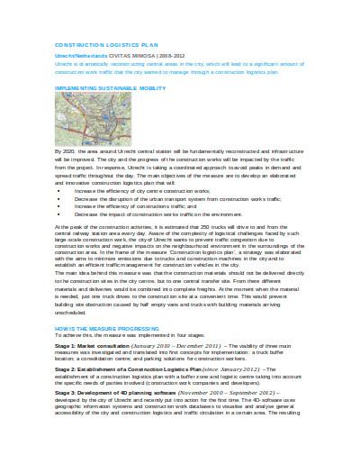 construction logistics plan template